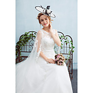 A-line Wedding Dress Watteau Train Jewel Tulle with Sash / Ribbon