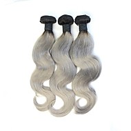"3pcs/lot 10""-28"" 1b/Gray Hair Body Wave Ombre Grey Hair Weave Silver Grey Human Hair Extension Grey Hair"