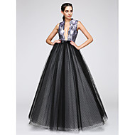 2017 TS Couture® Formal Evening Dress A-line V-neck Floor-length Satin / Tulle with Pattern / Print