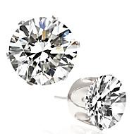 Modny Cyrkon Stop Round Shape Silver Biżuteria Na Ślub Impreza Codzienny Casual 1 para