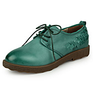 Women's Flats Spring / Summer / Fall Flats Leather / Cowhide Casual Flat Heel Stitching Lace Brown / Green