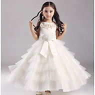 Ball Gown Ankle-length Flower Girl Dress - Organza / Satin / Polyester Short Sleeve Jewel with Appliques / Beading