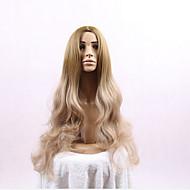 donne onde lunghe di colore biondo parrucche resistenti al calore parrucche