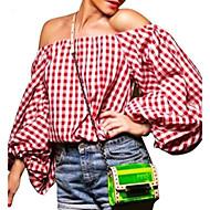 3/4 ærmelængde Bateau-hals Solid / Medium Kvinders Rød Houndstooth Efterår Simpel / Sødt I-byen-tøj / Ferie T-shirt,Polyester