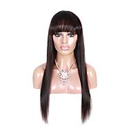100% brazilské panenské lidské vlasy paruka rovné středně hnědá přední paruky cap krajkové s ofina 1b # barvě