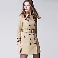 BURDULLY Women's Shirt Collar Long Sleeve Trench Coat Black / Red / Almond-5118