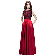 Formal Evening Dress Sheath / Column Bateau Floor-length Lace / Charmeuse with Lace / Pockets