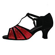 Na míru-Dámské-Taneční boty-Latina-Samet / Třpytky / Pažetky / Syntetika-Kubánský-Černá / Červená / Stříbrná / Zlatá