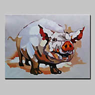 Hand Painted Modern Abstract Animal Pig Oil Painting On Canvas Wall Art With Stretched Frame Ready To Hang 75x100cm