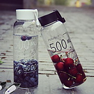 borosilikátové sklo hrnek s dopisy korejský módní šikovný pohár sportovní láhev (černá)