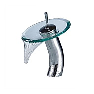 Stylish Glass Vessel Waterfall Faucet - Silver + Translucent Green