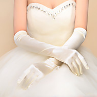 Classical Elbow Length Fingertips Glove Elastic Satin Bridal Gloves