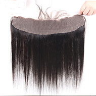 7A Peruvian Silk Straight 13*4 Lace Frontal Closure With Baby Hair Remy Human Hair