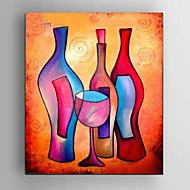 Hand-Painted Abstract wine bottle Wall Art Oil Painting For Home Bar Decoration with Stretched Framed