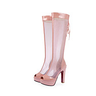 Women's Boots Spring / Summer Heels PU / Patent Leather Outdoor / Dress / Casual Stiletto Heel Ribbon Tie Black