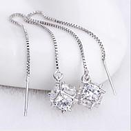 タッセル ファッション 愛らしいです 純銀製 ジルコン スクエア シルバー ジュエリー のために 結婚式 パーティー 日常 カジュアル 1ペア