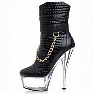Boty-Lakovaná kůže Personalizované materiály-Módní boty klub Boty Light Up boty-Dámské-Černá Průsvitná-Šaty Běžné Party-Vysoký