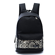 Women Canvas Sports Casual  Outdoor Travel Backpack Printing National Wind Flower School Bag