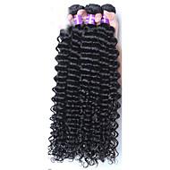 人間の髪編む マレーシアンヘア ウェーブ 12ヶ月 3個 ヘア織り