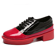 Women's Oxfords Fall Comfort / Round Toe Patent Leather Casual Flat Heel Lace-up Red Others