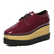 Women's Sneakers Spring / Fall Creepers Leatherette Outdoor Platform Lace-up Black / Burgundy Walking