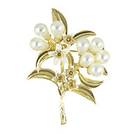 Gold Color Imitation Pearl Flower Brooches