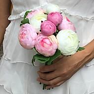 """Bouquets de Noiva Redondo Peônias Buquês Casamento Festa / noite Cetim 5.91""""(Aprox.15cm)"""