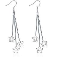 Personality OL Fine S925 Silver Simplicity Star Tassel Drop Earrings for Women Wedding Party Jewelry
