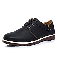 Men's Oxfords Spring / Fall Round Toe / Flats PU Office & Career / Casual Flat Heel Others / Lace-up Black / Brow