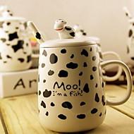salpico teste padrão da vaca caneca boneca leite cerâmica copo copo pequeno-almoço com tampa e colher (cor aleatória)