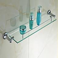 "Bathroom Shelf Chrome Wall Mounted 605 x 120 x 90mm (23.8 x 4.72 x 3.54"") Brass / Crystal Contemporary"
