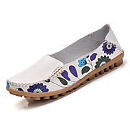 Dame-Lær-Flat hæl-Komfort-一脚蹬鞋、懒人鞋-Fritid-Blå Rød Hvit Beige