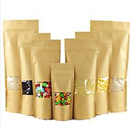 sacos de chá kraft sacos janela ziplock de embalagens de alimentos, sacos de auto-adesivas atacado personalizado wolfberry um dez pacote