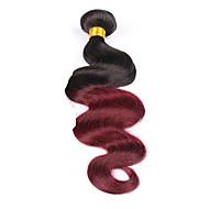 Cabelo Humano Cabelo Brasileiro Âmbar Onda de Corpo Extensões de cabelo 1 Peça Preto Vinho / Dark