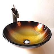 Starožitný T12*Φ420*H145MM Kulatý dřez Materiál je Tvrzené skloKoupelnový dřez / kohoutek do koupelny / Montážní kroužek do koupelny /