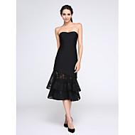 TS Couture® Cocktail Vestito A tubino Con decorazione gioiello Lunghezza tè Di pizzo / Raso elasticizzato con Bottoni / Di pizzo