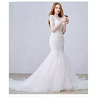 Trumpet / Mermaid Wedding Dress Court Train Scoop Tulle with Appliques / Beading / Pearl