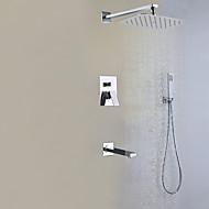 Současné Nástěnná montáž Dešťová sprcha / Včetne sprchové hlavice with  Keramický ventil Dvěma uchy čtyři otvory for  Pochromovaný ,