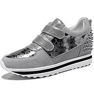 נעלי נשים זמש באביב / קיץ / סתיו / נעלי ספורט מטפסים בחורף אתלטי / מזדמנים מסמרת פלטפורמה שחור / כסף