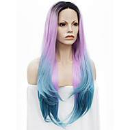 IMSTYLE 24Awesome Pink Blue Ombre With Black Root Straight Synthetic Lace Front Wig
