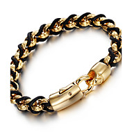 Kalen New 316L Stainless Steel 18K Indian Gold Plated Link Chain Bracelets Male Chain&Leather Bracelets Men's Gifts