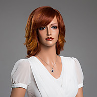 Natural Wavy Charming  Wig With Bangs Virgin Human Hair Secondary Color 14 Inch