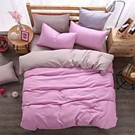 Bedtoppings Comforter Duvet Quilt Cover 4pcs Set Queen Size Flat Sheet Pillowcase Solid  Color Reversible Microfiber Fabric