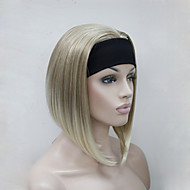 nye mode blond mix 3/4 paryk med pandebånd kvinders korte lige syntetiske halv paryk