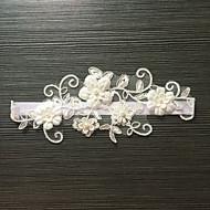 Podvazek Elastický satén Krajka Květiny Napodobenina perel Biały