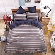 bedtoppings는 이불 이불 커버 4 개는 퀸 사이즈 플랫 시트 베개 스트라이프 프린트 고체 마이크로 화이버를 설정 이불