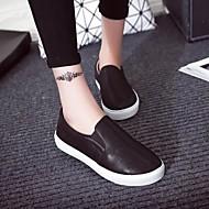 Damen-Loafers & Slip-Ons-Lässig-Kunstleder-Flacher Absatz-Komfort-Schwarz / Weiß