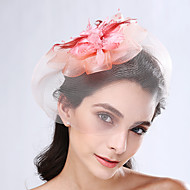 Mulheres Penas / Rede Capacete-Casamento / Ocasião Especial Fascinador 1 Peça Dourado / Café / Azul / Verde / Laranja / Rosa / cinzento