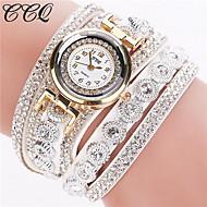 Mulheres Bracele Relógio Quartzo Strass imitação de diamante Couro Banda Brilhante Preta Branco PrataVermelho Azul Rosa claro Azul Claro
