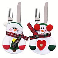 6stk xmas indretning dekoration dejlig snemand køkken bordservice holder lomme middag bestik taske party julebordet